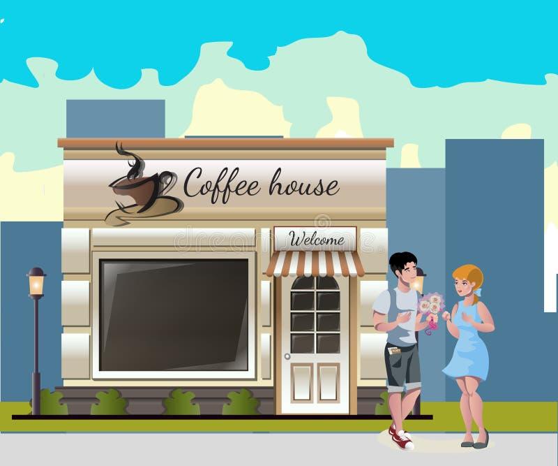 Paar die een diner in straatkoffie hebben royalty-vrije illustratie
