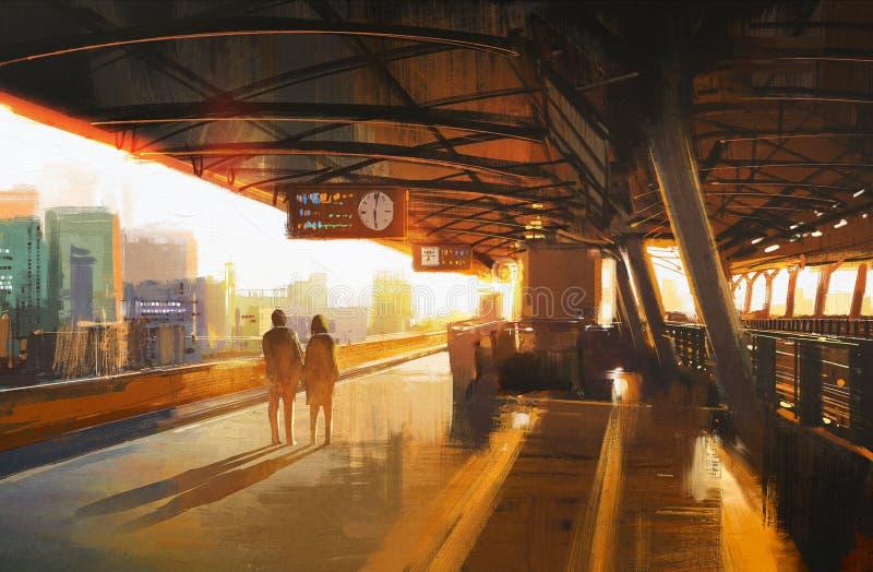 Paar die een trein wachten stock illustratie