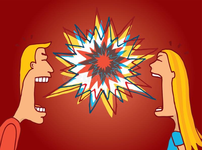 Paar die of een verwarmd argument bestrijden bespreken vector illustratie