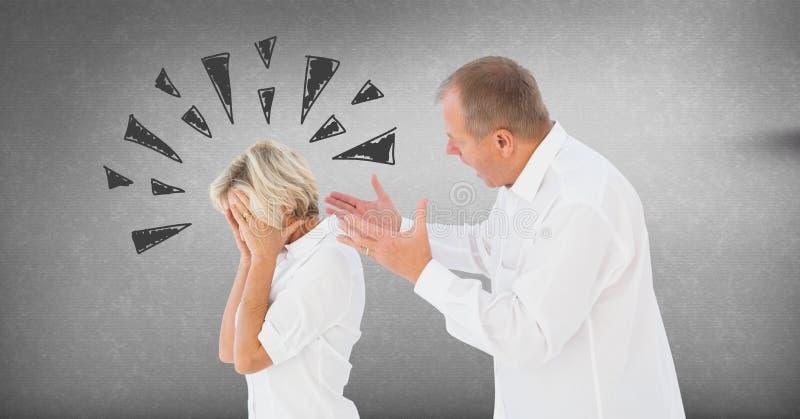 Paar die en met driehoekskrabbels debatteren vechten op grijze achtergrond stock afbeeldingen