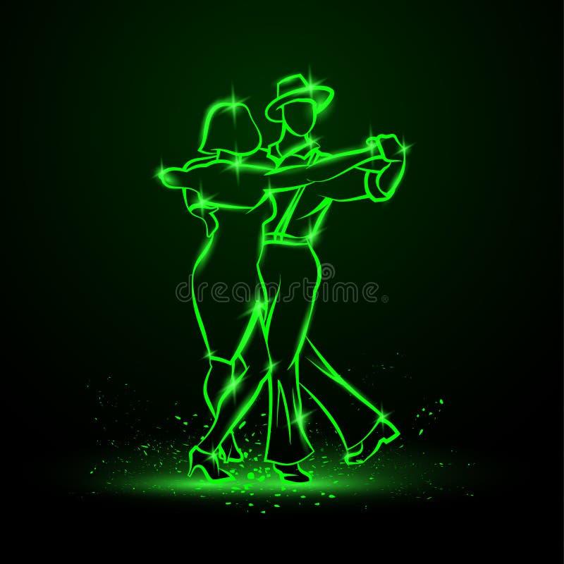 Paar die foxtrot dansen Vector groene neonillustratie royalty-vrije illustratie