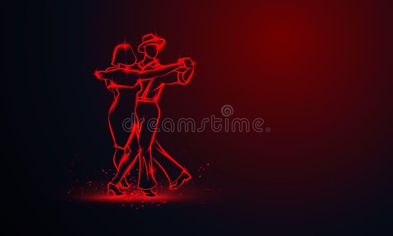 Paar die foxtrot dansen Vector rode neonbanner met exemplaarruimte stock illustratie