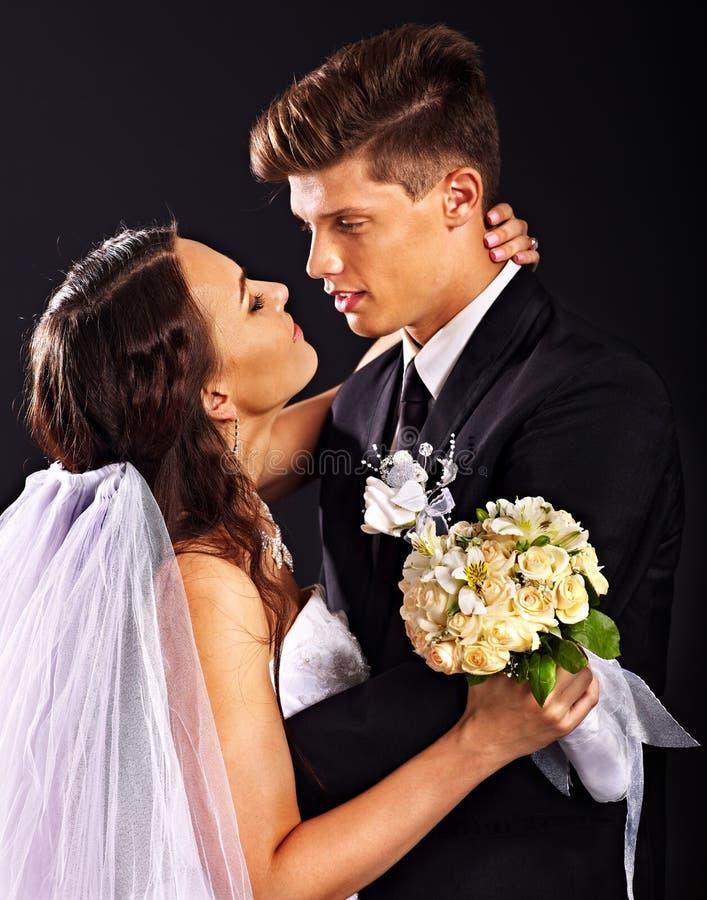 Paar die huwelijkskleding en kostuum dragen. royalty-vrije stock foto's