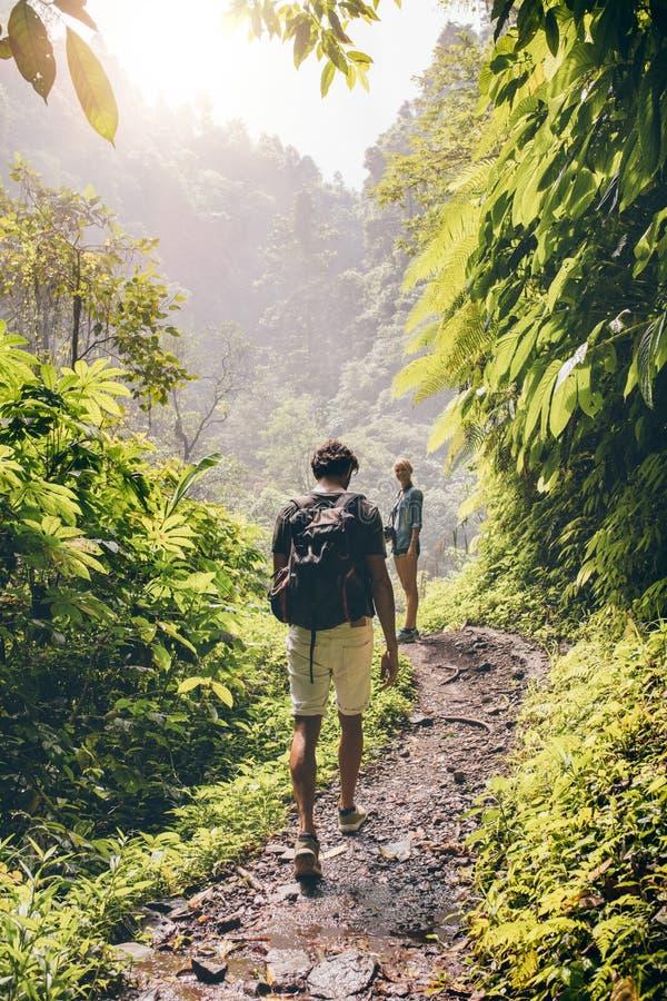 Paar die langs een weg door het bos lopen royalty-vrije stock foto