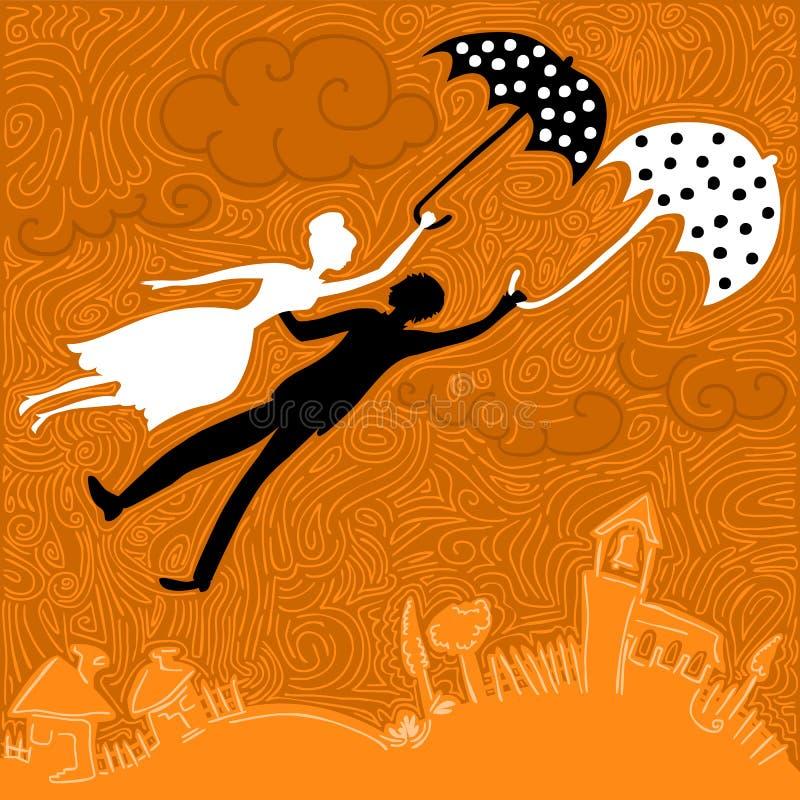Paar die in liefde met paraplu's vliegen vector illustratie