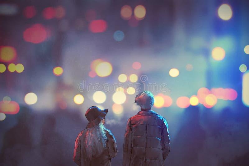 Paar die in liefde op straat van stad bij nacht lopen vector illustratie