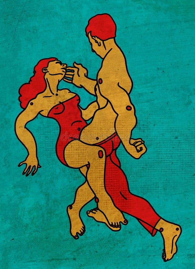 Paar die met hartstocht en liefde dansen stock foto