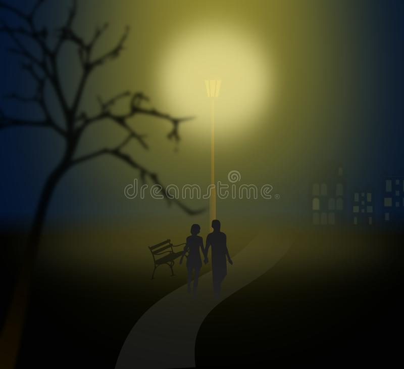 Paar dat onder een lantaarn in nevelig park loopt royalty-vrije illustratie