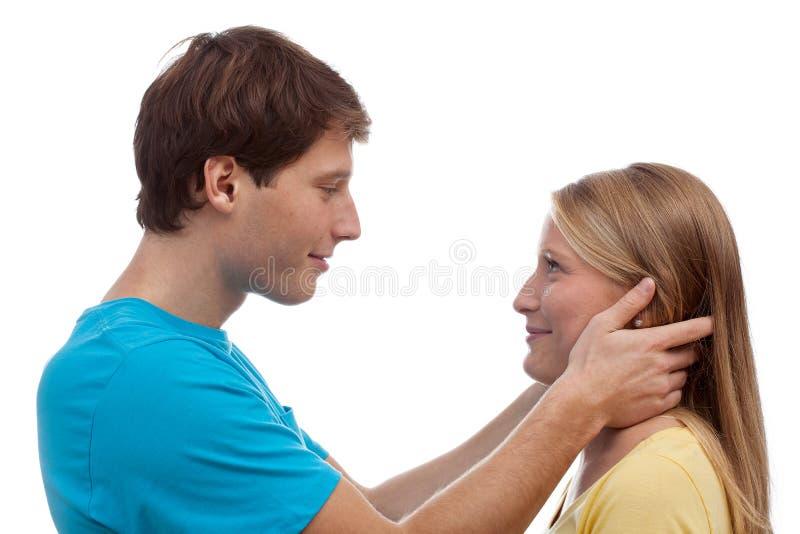 Paar die oogcontact hebben stock fotografie