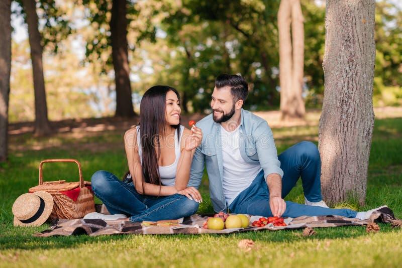 Paar die op deken samen rusten terwijl het hebben van picknick royalty-vrije stock afbeeldingen