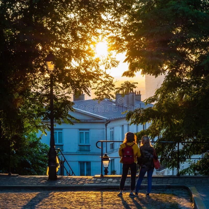Paar die op een Zonsopgang in Parijs letten stock fotografie