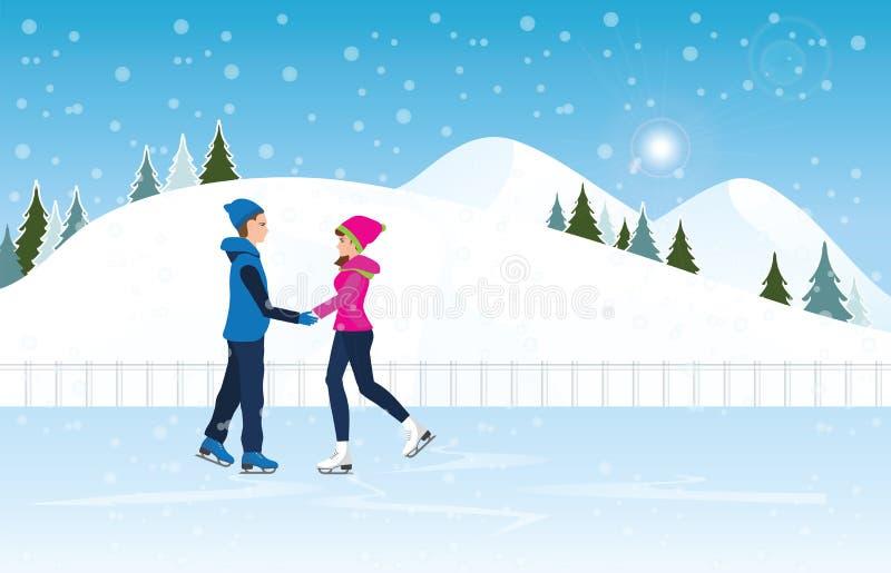 Paar die op ijsbaan op Cityscape landschapsachtergrond schaatsen stock illustratie