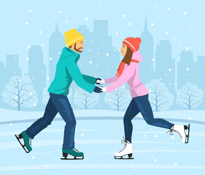 Paar die op ijsbaan schaatsen vector illustratie