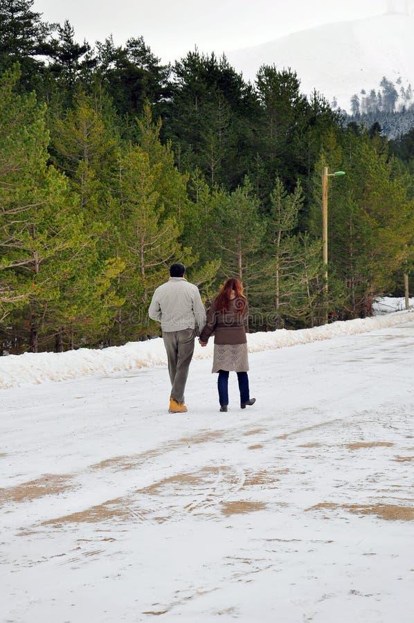 Paar die op sneeuw lopen stock fotografie