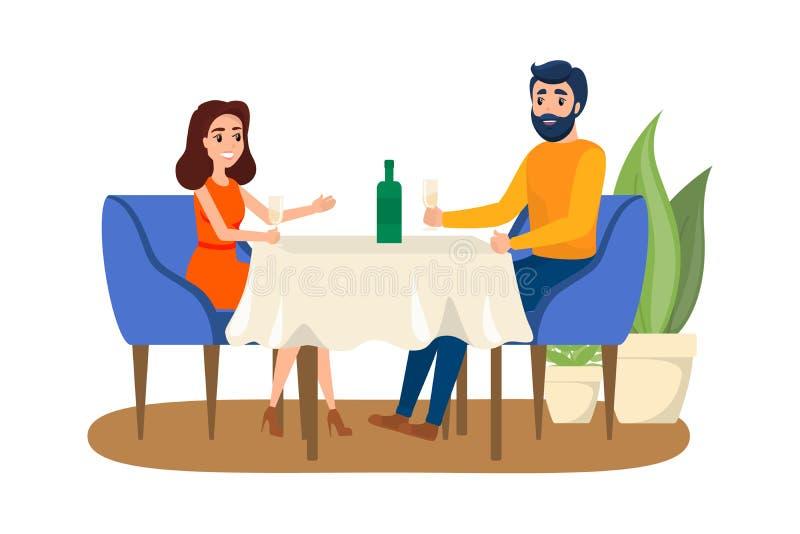 Paar die romantisch diner in het restaurant hebben royalty-vrije illustratie