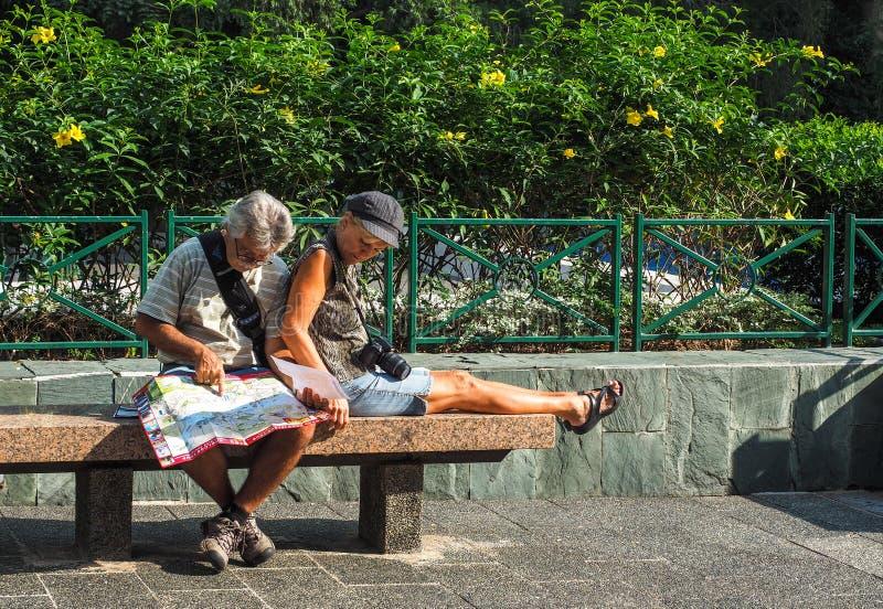 Paar die samen met een kaart reizen stock afbeelding