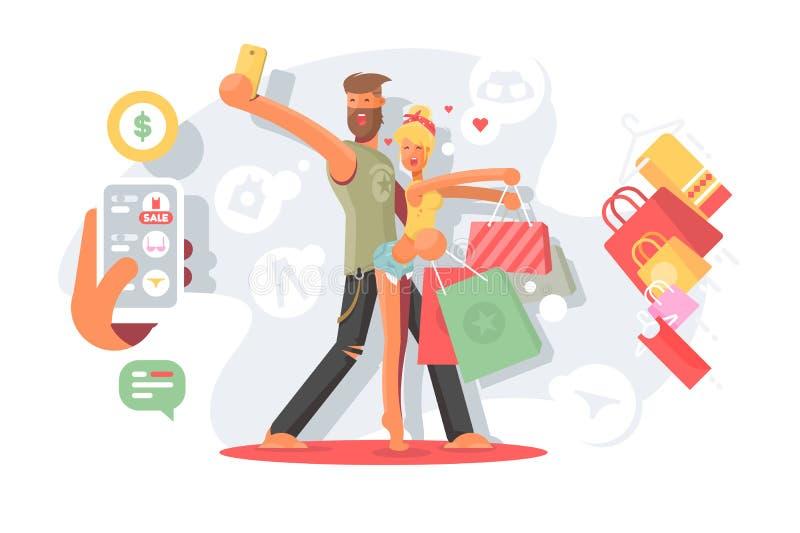Paar die selfie met het winkelen zakken nemen vector illustratie