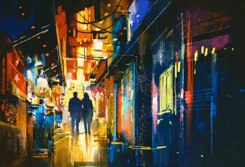 Paar die in steeg met kleurrijke lichten lopen stock afbeeldingen