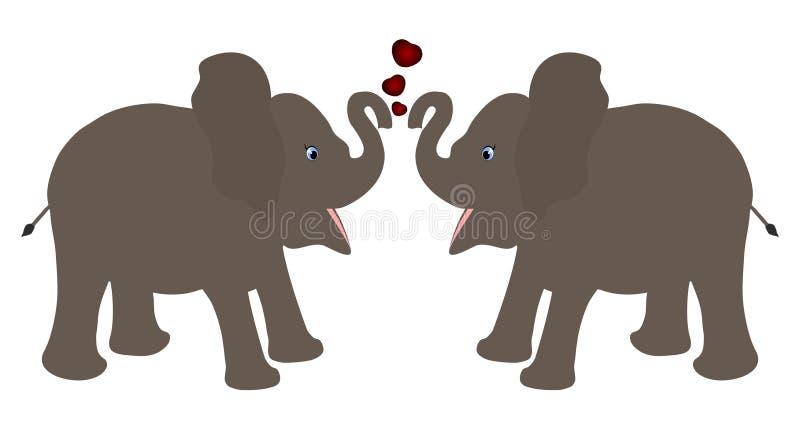 Paar die van de baby van het olifantskalf beeldverhaal vectorillustratie met rode harten onder ogen zien tegen witte achtergrond stock illustratie
