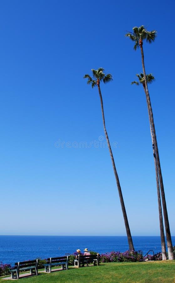 Paar die van de oceaanmening van Heisler-Park, Laguna Beach, Californië genieten stock afbeeldingen