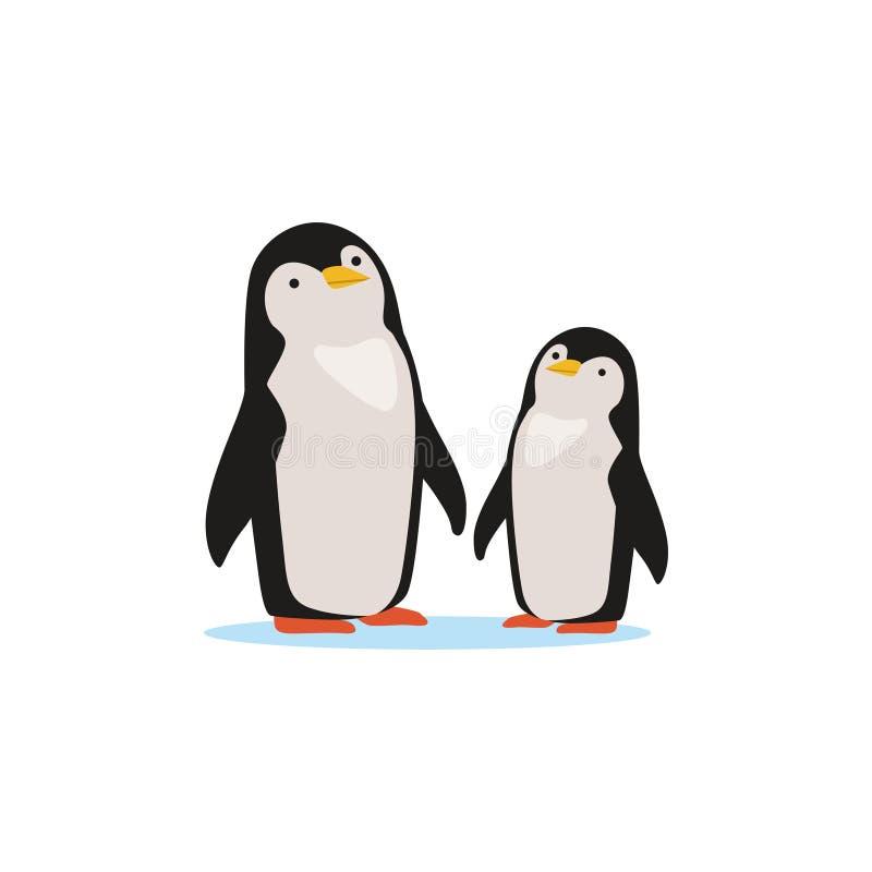 Paar die van pinguïnen op een ijs, de Noordpool vectorillustratie van faunaspecies zitten vector illustratie