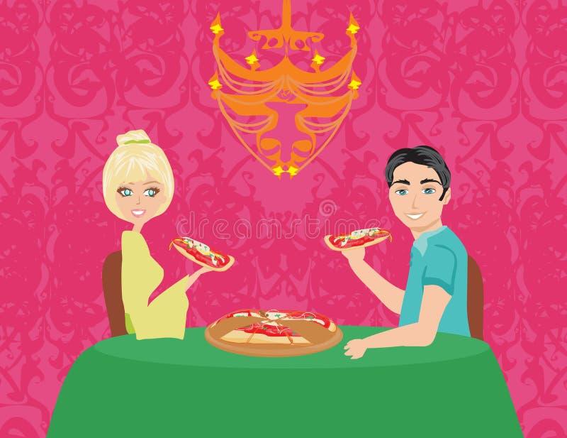 Paar die van pizza genieten royalty-vrije illustratie