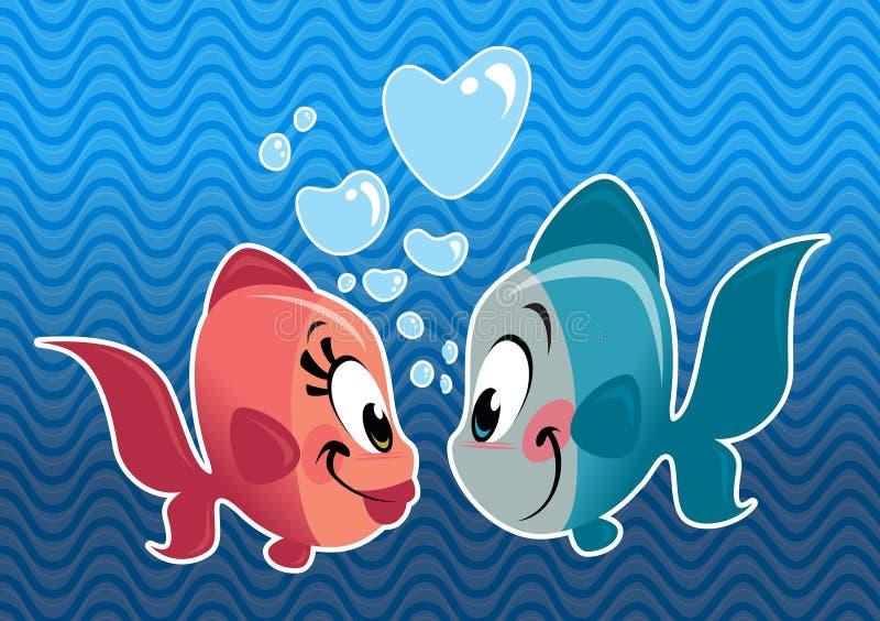 Paar die van twee beeldverhaal het leuke vissen in liefde vallen vector illustratie