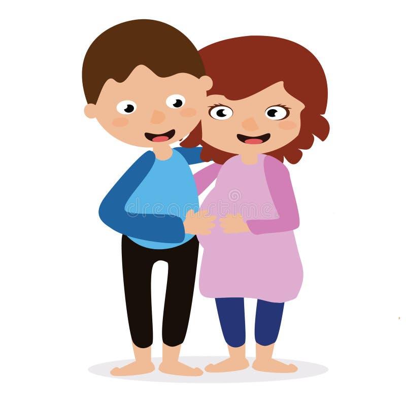 Paar die zich zwangere aankondiging verenigen stock illustratie