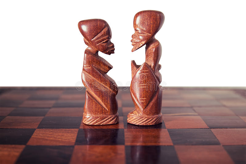 Paar, echtgenoot en vrouw, door twee stukken van houten CH wordt vertegenwoordigd die royalty-vrije stock foto's