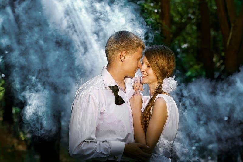 Paar in een bos royalty-vrije stock afbeelding
