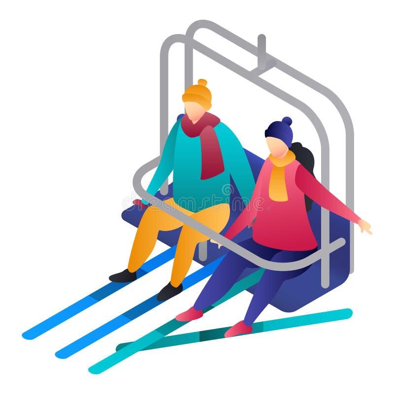 Paar in een kabelwagenpictogram, isometrische stijl royalty-vrije illustratie