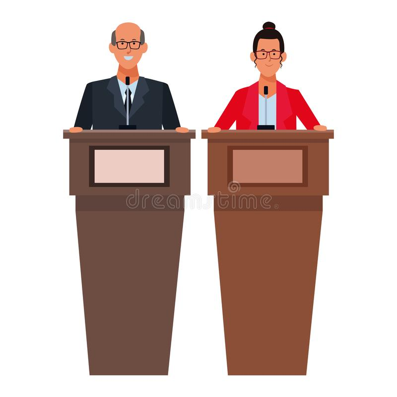 Paar in een podium vector illustratie