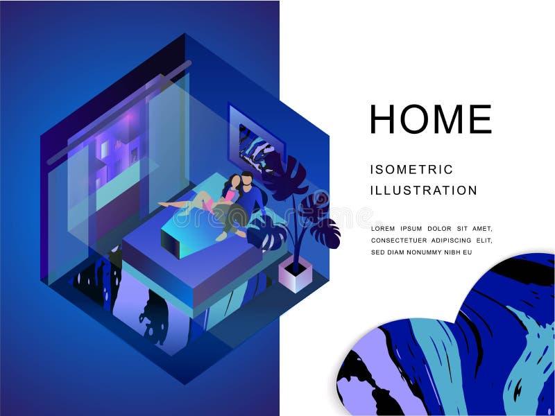Paar in een slaapkamer leisure Huis 3d isometrische illustratie Vector eps10 stock illustratie