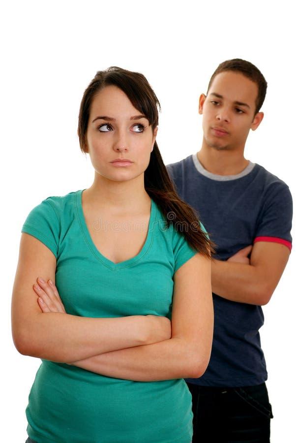 Paar in een stemming stock foto