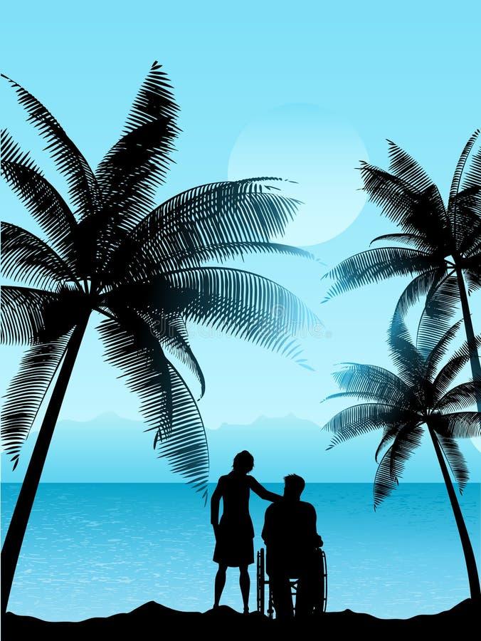 Paar in een tropisch landschap stock illustratie