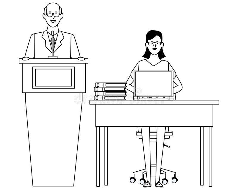Paar in een zwart-wit podium en een bureau royalty-vrije illustratie