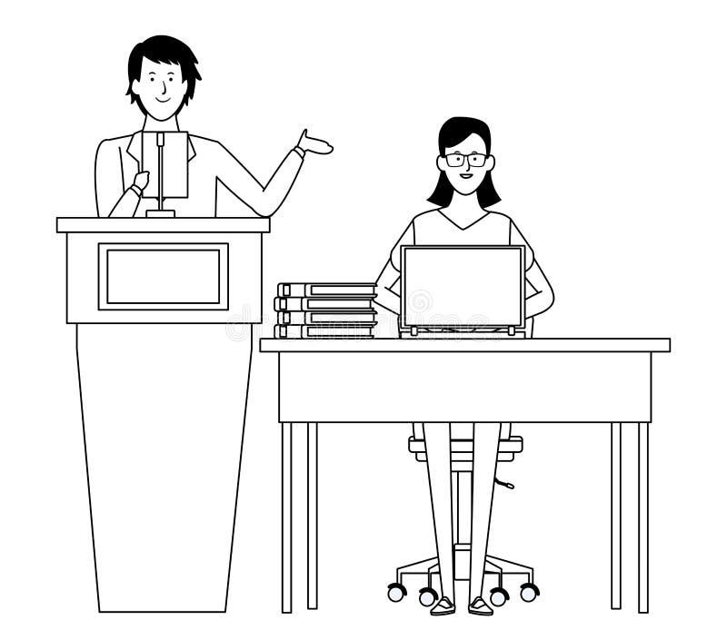 Paar in een zwart-wit podium en een bureau vector illustratie