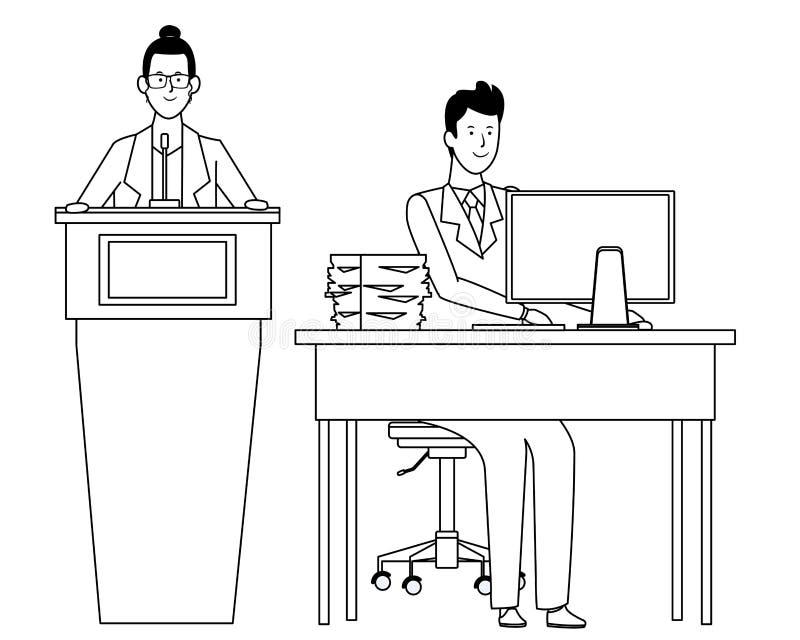 Paar in een zwart-wit podium en een bureau stock illustratie