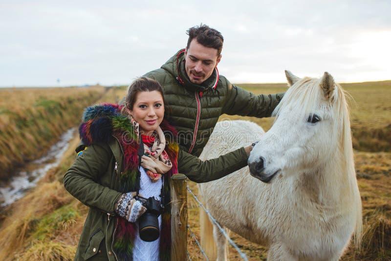 Paar en het Witte Paard van IJsland stock afbeelding