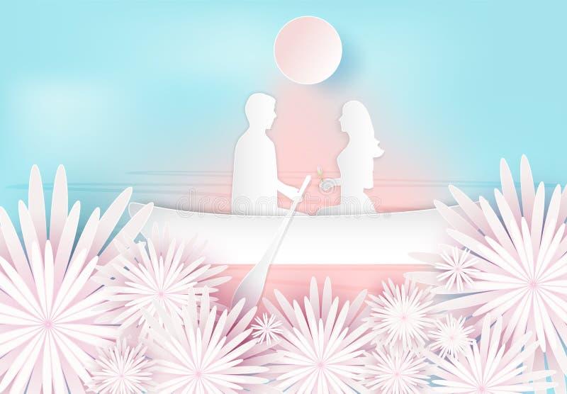 Paar en roze bloemendocument kunststijl, Valentine-concept stock illustratie