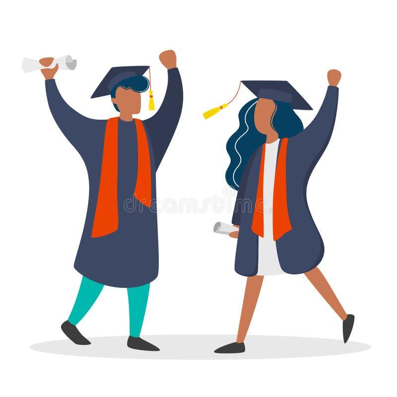 Paar in graduatietoga en hoed Meisje en jongensgediplomeerde stock illustratie