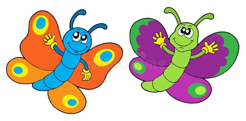 Paar grappige vlinders vector illustratie