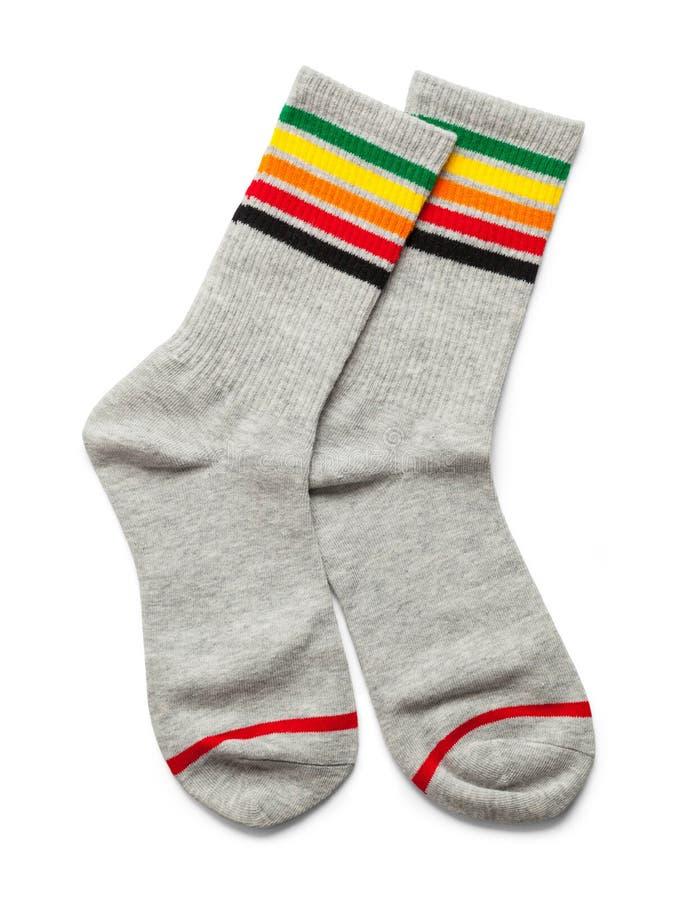 Paar Grey Stripped Socks stock afbeeldingen