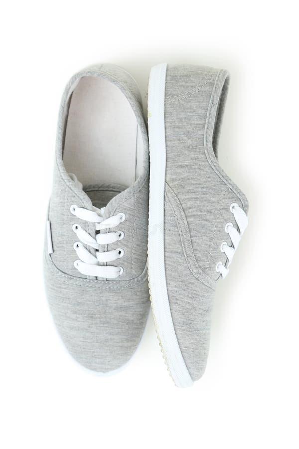 Paar grijze schoenen stock foto's