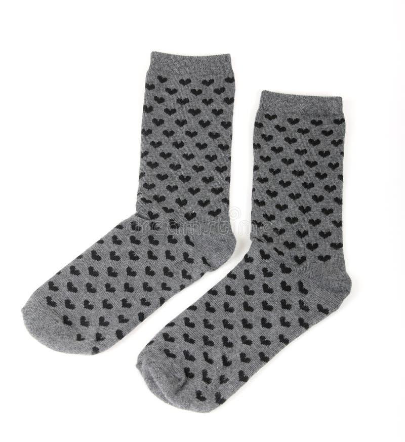Paar grijze sokken royalty-vrije stock fotografie