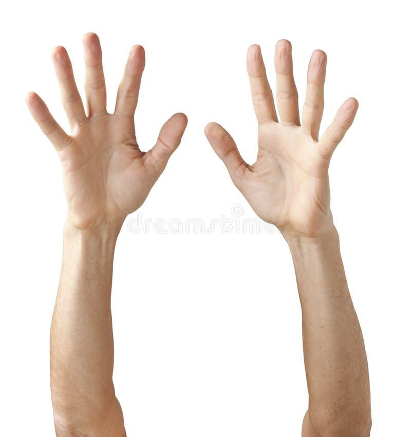 Paar Handen die omhoog bereiken stock foto