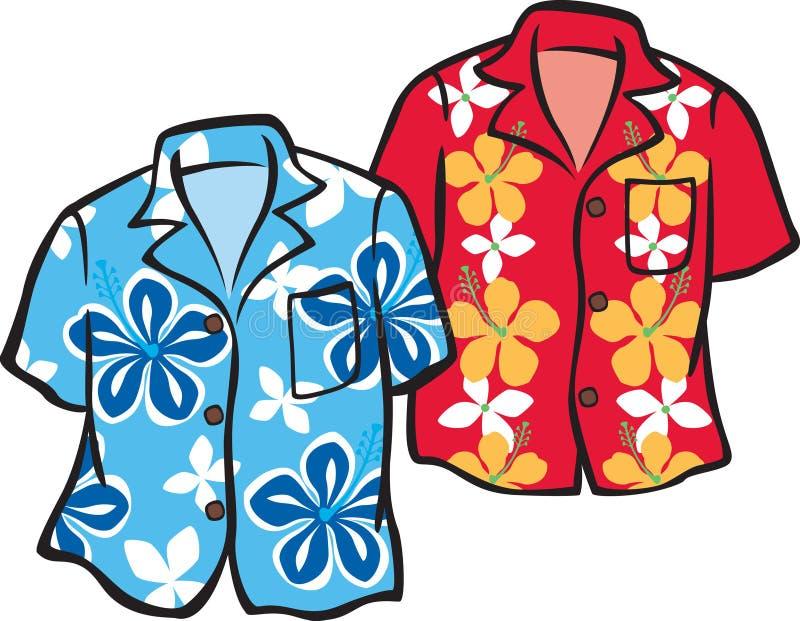 Paar Hawaiiaanse Overhemden Aloha royalty-vrije illustratie