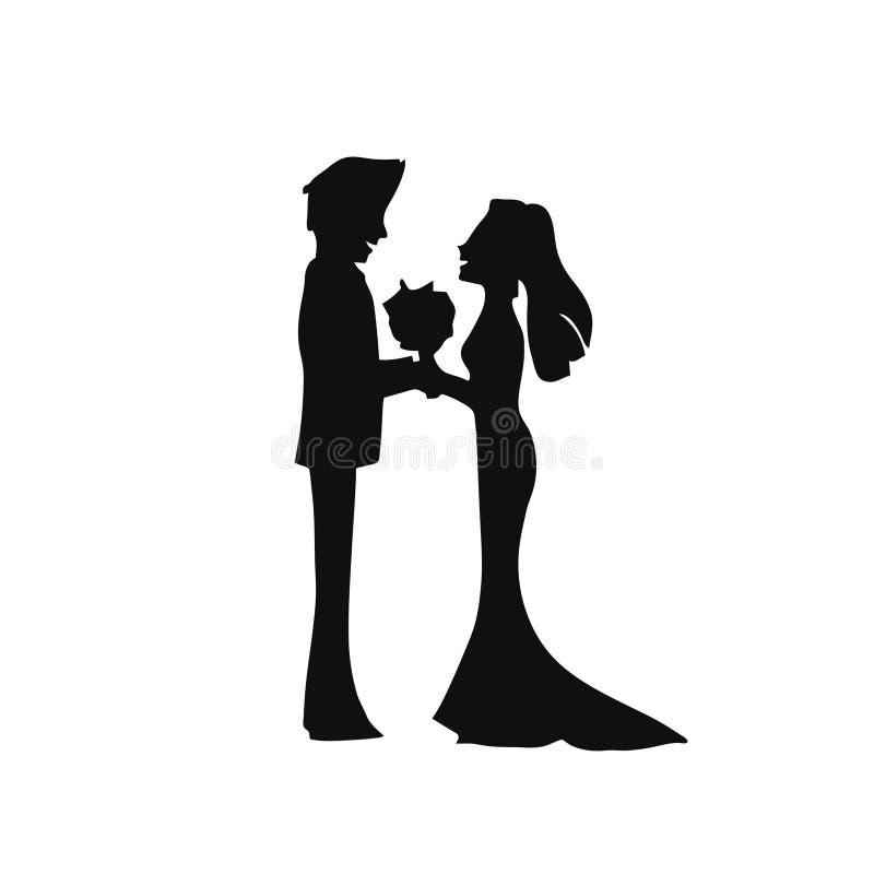 Paar-Heiratsschattenbild, das sich gegenüberstellt lizenzfreie abbildung