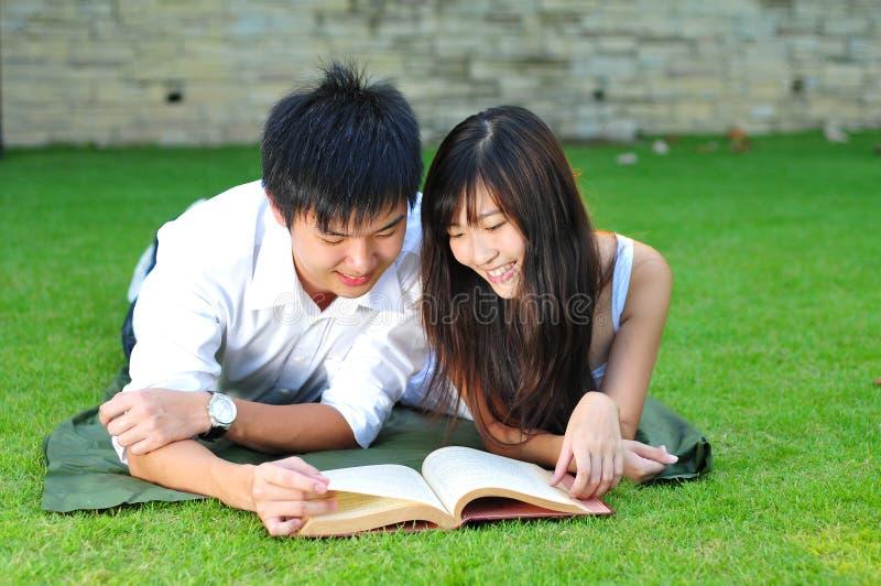 Paar in het Boek van de Lezing van de Liefde in het Park stock afbeelding