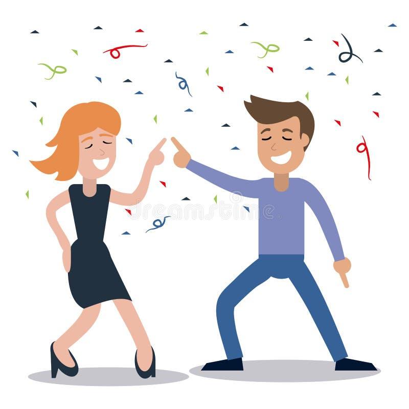 paar het dansen de viering van partijconfettien vector illustratie